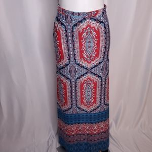 Lily Star Red and Blue Stretch knit Maxi skirt M